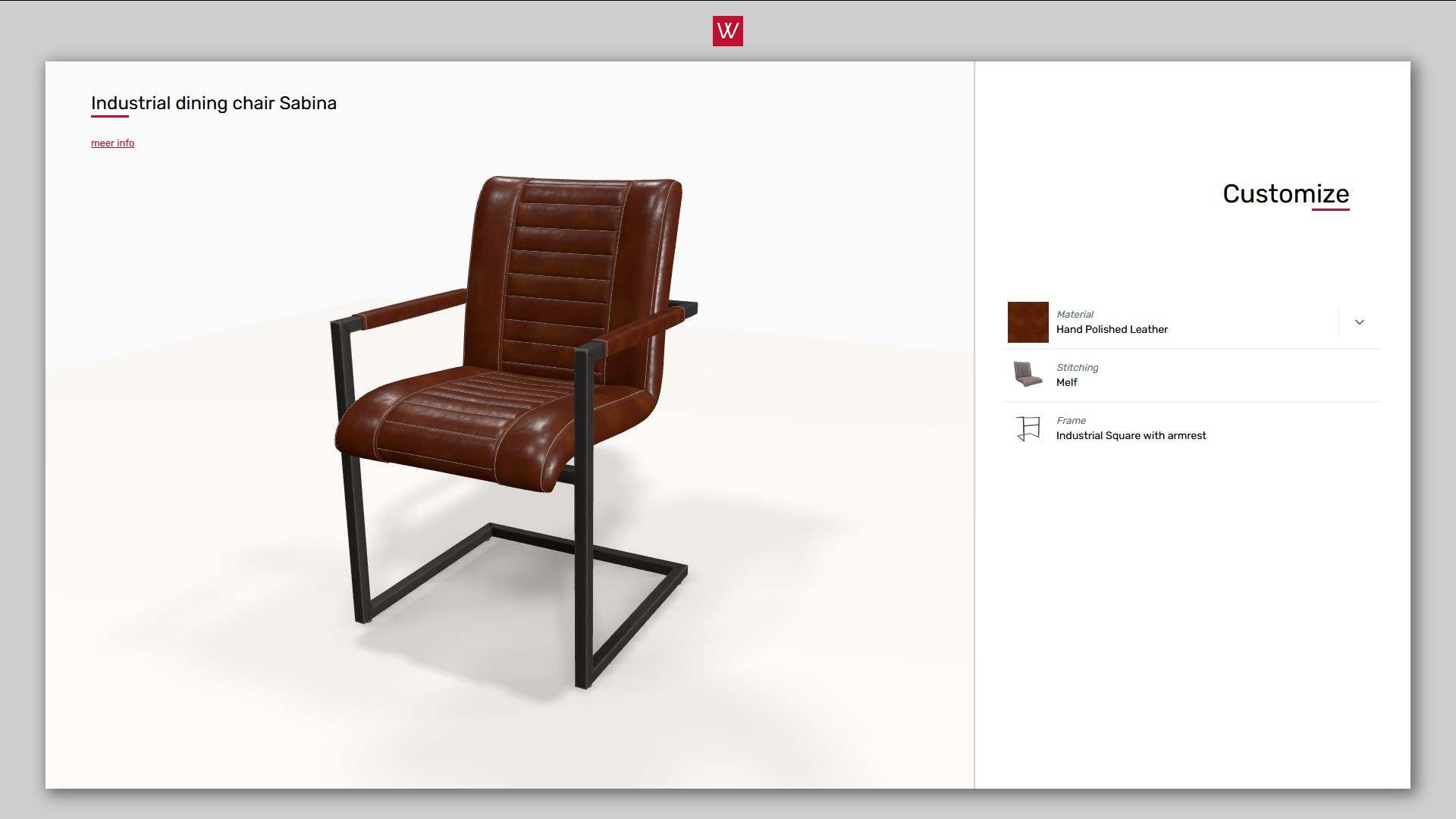 3D product configurator dining chair