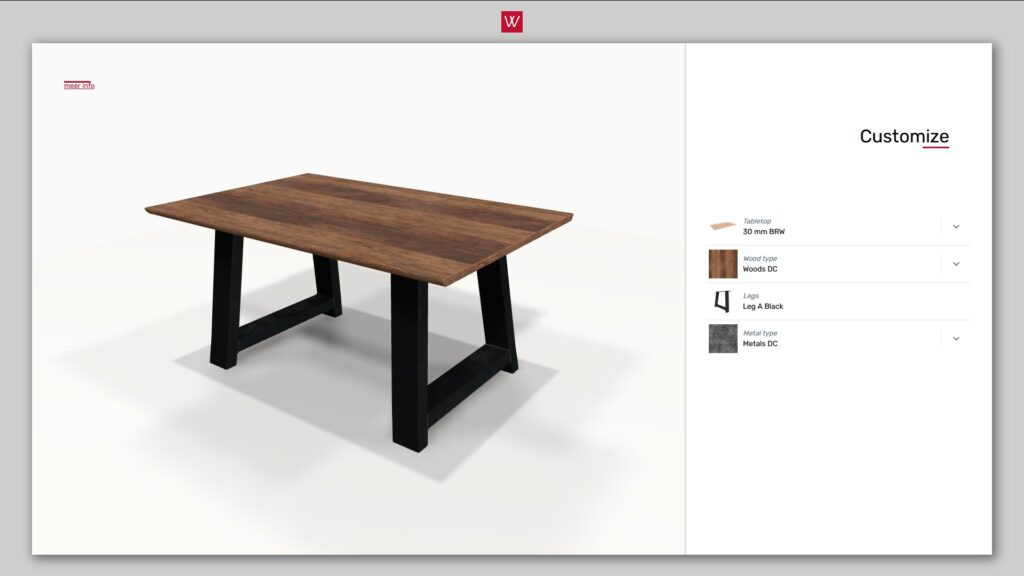 3D product configurator dining table