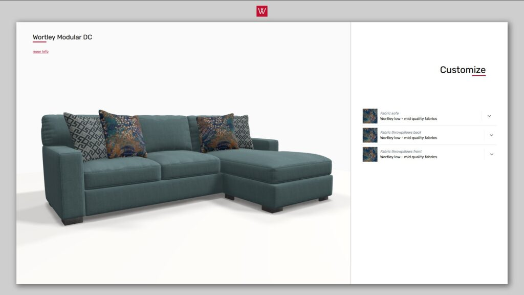 3D product configurator sofa with longchair