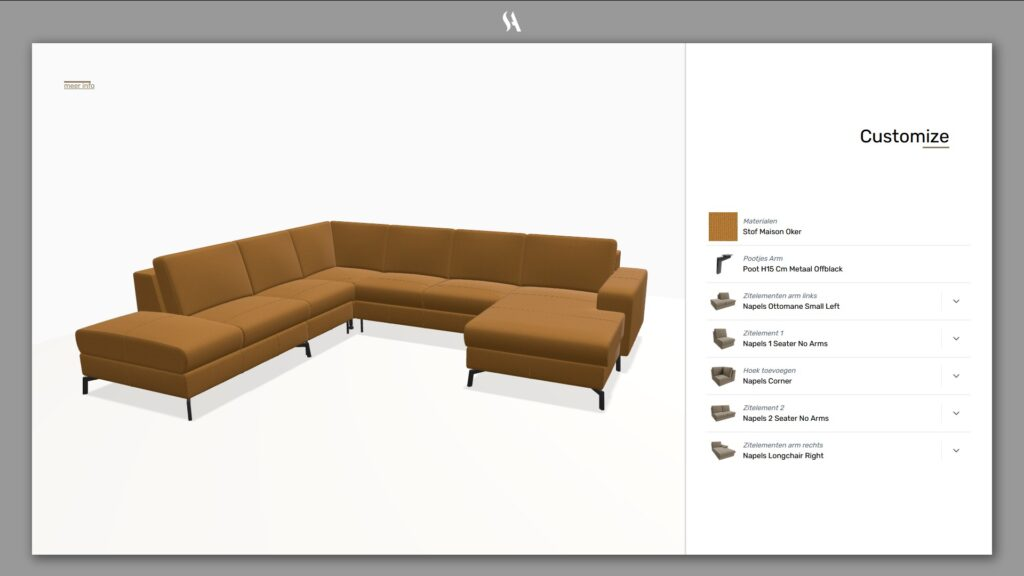 Visual product configurator for modular sofa
