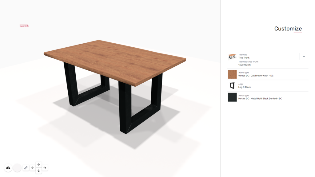 3D product configurator for dining table
