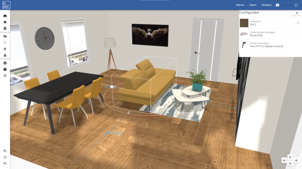 3D roomplanner with visual configurator for furniture ecommerce