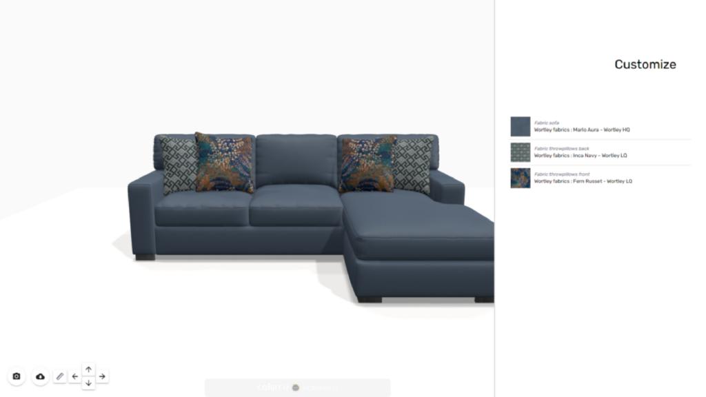 Visual 3d product customizer furniture